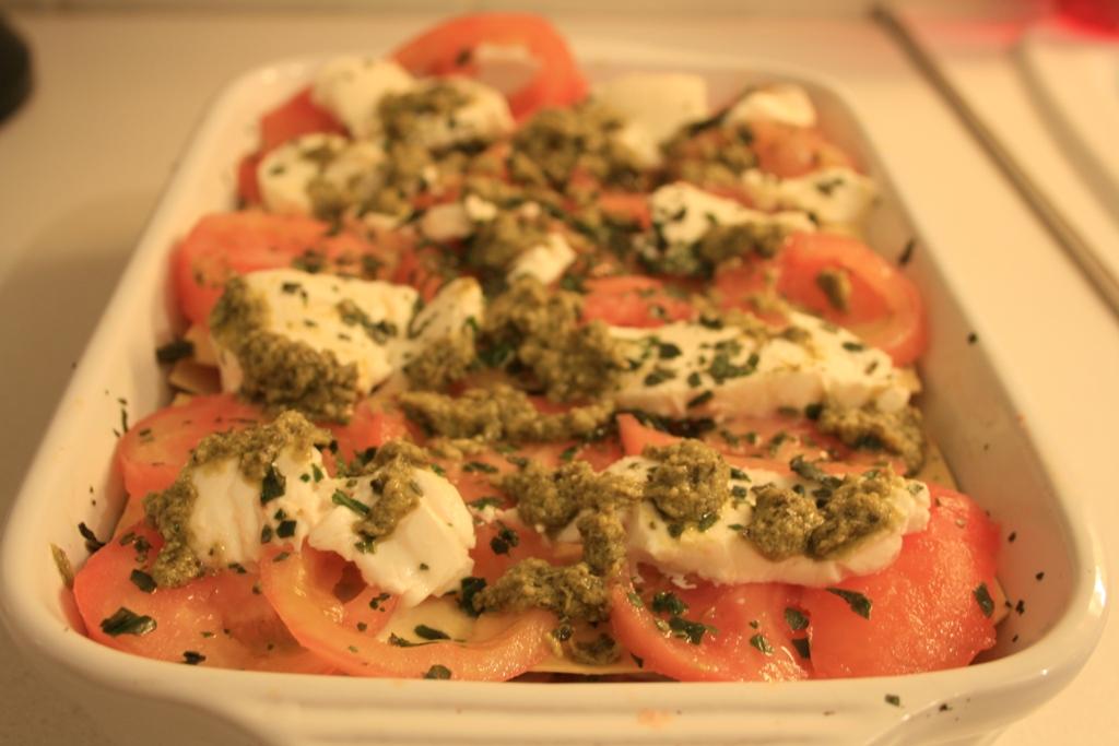 Lasagnes tomates-mozza au pesto